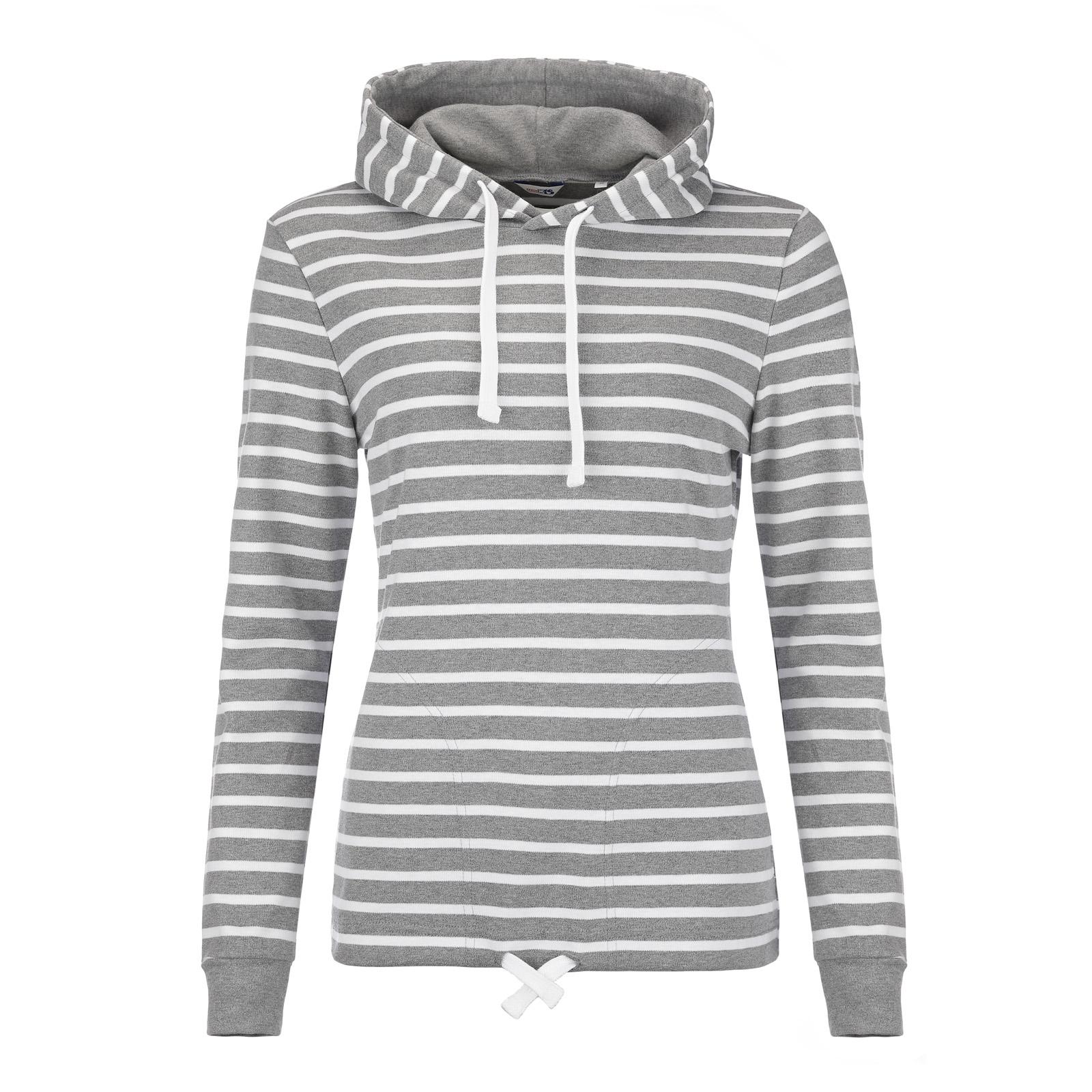 Damen Kapuzenshirt grau-melange/weiß