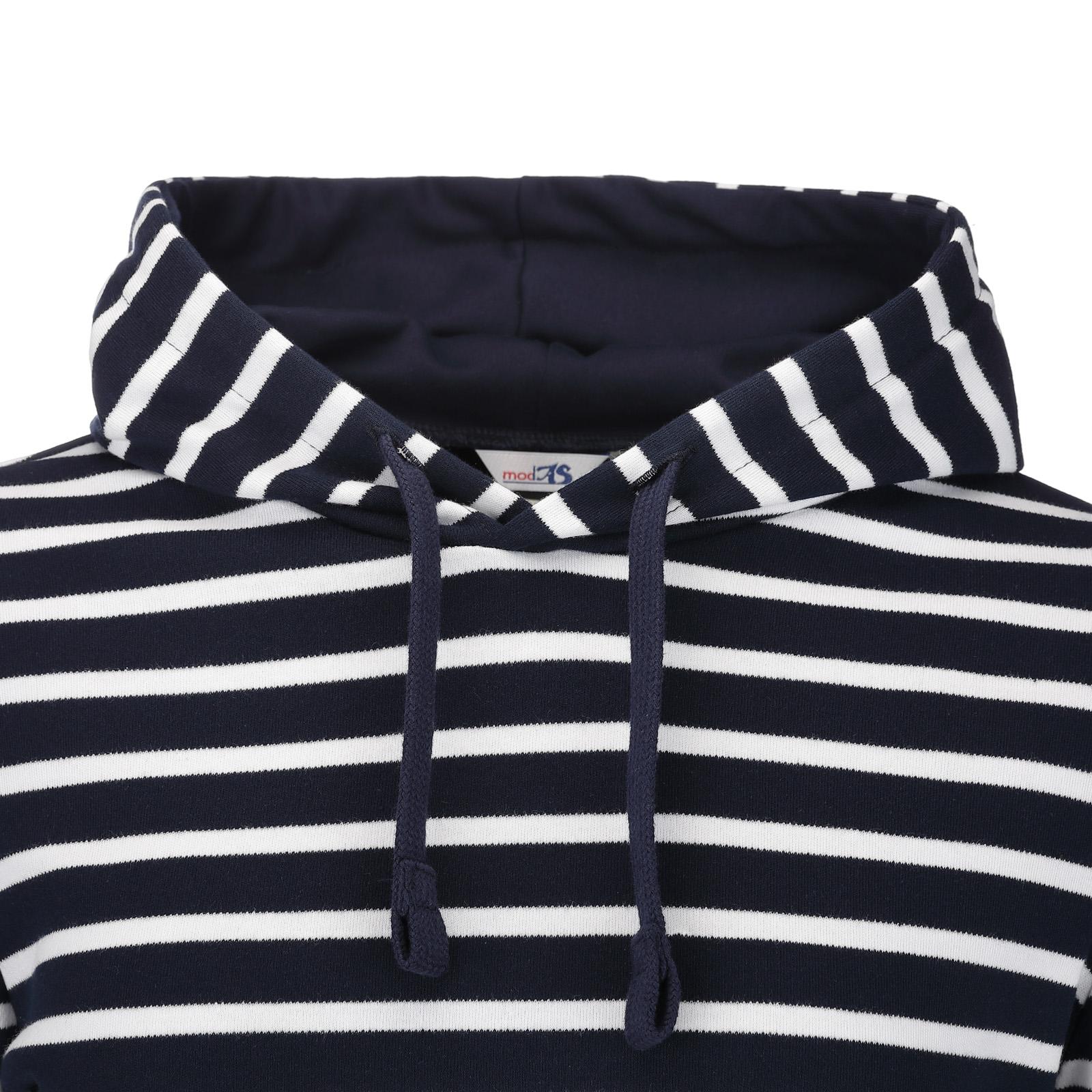 Damen Kapuzenshirt blau-melange/weiß