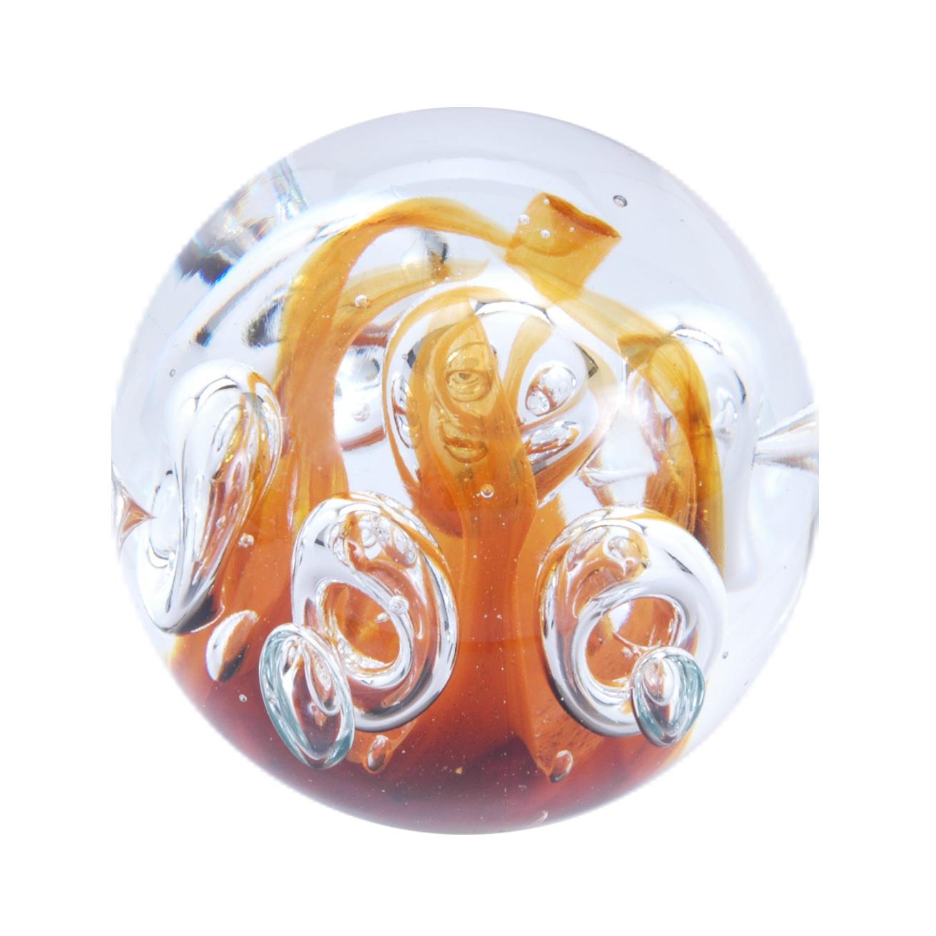 Traum-Glaskugel orange mit Blasen