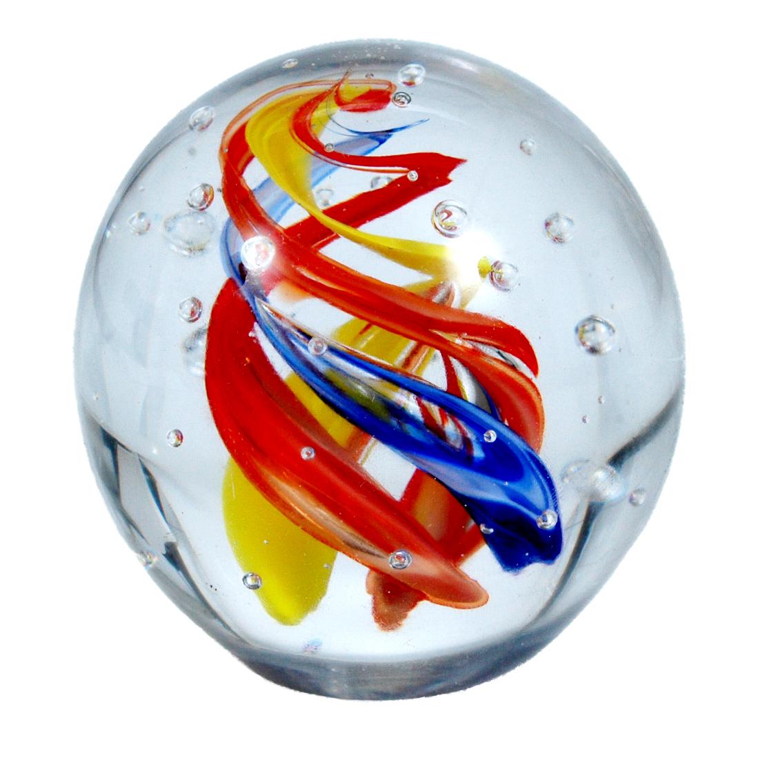 Traum-Glaskugel orange, gelbe und blaue Wirbel